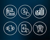 Buy currency, Currency exchange and Finance icons. Vacancy, Add products signs. Set of Buy currency, Currency exchange and Finance icons. Vacancy, Add products Stock Image