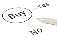 Buy decision concept. With chart and pen on white stock photos