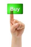 Buy del tasto e della mano immagine stock