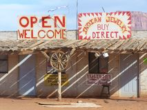 We buy direct. Abandoned trading post, Monument Valley, Utah.  Yah-Ta-Hey means welcome Royalty Free Stock Photos