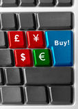 Buy euro!. Computer keyboard with currency buttons Stock Photo