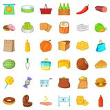 Buy of food icons set, cartoon style. Buy of food icons set. Cartoon style of 36 buy of food vector icons for web isolated on white background Royalty Free Stock Image