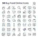 Buy Food Online Icon in vector format. Buy Food online and shopping in grey colour. Perfect for use in a wide range of new media templates: Web Marketing Agency stock illustration