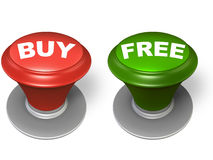 Buy and free button Royalty Free Stock Photo