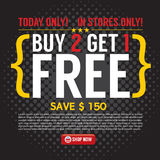 Buy 2 Get 1 Free Background. Buy 2 Get 1 Free Background Vector Illustration Stock Images