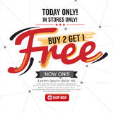 Buy 2 Get 1 Free Background. Royalty Free Stock Photo
