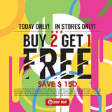 Buy 2 Get 1 Free Banner. Vector Illustration Royalty Free Stock Images