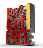 Buy 2 Get 1 FREE. 3D Rendered Text, for buy 2 get 1 Free promotion Royalty Free Stock Photo