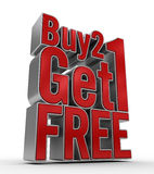 Buy 2 Get 1 FREE. 3D Rendered Text, for buy 2 get 1 Free promotion Stock Photography