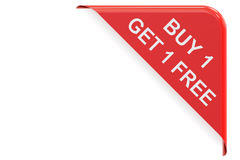 Buy 1 Get 1 Free, red corner. Sale and discount concept 3D rende. Ring on white background Stock Photography