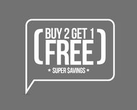 buy 2 get 1 free sale message concept Stock Photography