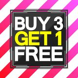 Buy 3 Get 1 Free, Sale poster design template, vector illustration. Buy 3 Get 1 Free, Sale poster design template, best offer, special price, vector illustration stock illustration