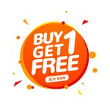 Buy 1 Get 1 Free sale tag. Banner design template for marketing. Special offer promotion or retail royalty free illustration