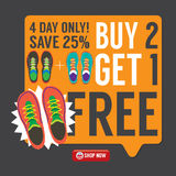 Buy 2 Get 1 Free Sneakers Promotion Campaign. Stock Photography