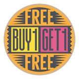 Buy 1 Get 1 Free stamp. Abstract stamp with the text Buy 1 Get 1 Free written inside the stamp, vector illustration Stock Photos