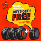 Buy 3 get 1 Free tires poster Royalty Free Stock Image