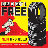Buy 3 get 1 Free tires poster Stock Images