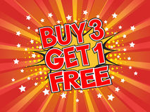 Buy 3 get 1 free, wording in comic speech bubble on burst backgr Stock Photography