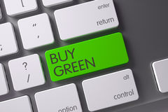 Buy Green CloseUp of Keyboard. 3D Illustration. Buy Green Concept Slim Aluminum Keyboard with Buy Green on Green Enter Key Background, Selected Focus. 3D Render Royalty Free Stock Image