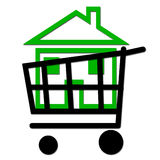 Buy a green house. Icon of a shopping cart whit a green house inside Stock Images
