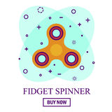 Buy Hand spinner toy in flat and cartoon style. White and abstract background Stock Photography