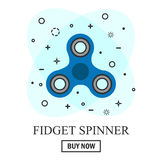 Buy Hand spinner toy in flat and cartoon style.. Buy Hand spinner toy in flat and cartoon style. White and abstract background Stock Photography