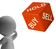 Buy Hold And Sell Dice Represents Stocks Strategy Royalty Free Stock Photography