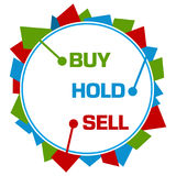 Buy Hold Sell Red Green Blue Abstract Shapes Circular. Buy sell hold concept image with text written over red green blue background Stock Image