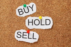 Buy Hold or Sell?. The words Buy, Hold and Sell pinned to a cork notice board. These are investment decisions when we trade stocks and shares in the finance Royalty Free Stock Photos