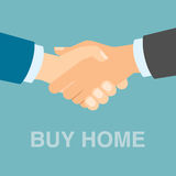 Buy home handshake. Making agreement about bauying new real estate, property. Great deal Stock Images