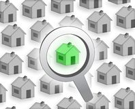 Buy a house. Gray green concept illustration background Stock Photos