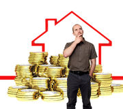 Buy house. Man think about buy house, 3d background Royalty Free Stock Photos