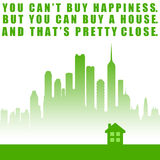 Buy house. Becoming happy by buying a house and home Royalty Free Stock Photos