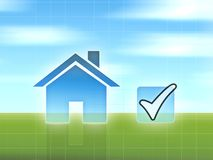 Buy house concept. Blue sky and green grass Royalty Free Stock Photos