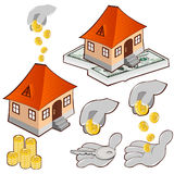 Buy house credit money icon Royalty Free Stock Photography