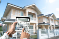 Buy house Mortgage calculations Stock Photo