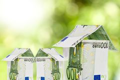 Buy house. House notes on natural background, buy house royalty free stock photo
