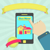 Buy house online through phone Royalty Free Stock Image
