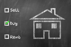 Buy a house option selected Stock Photos
