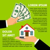 Buy house poster. With men hands paying money for the home building. Vector real estate illustration on bright green background Stock Photo