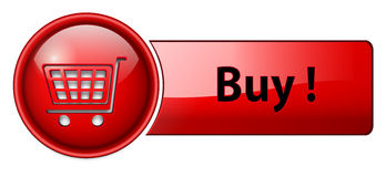 Buy icon, button. Red glossy, vector Stock Images