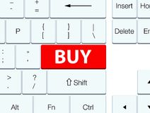 Buy red keyboard button. Buy isolated on red keyboard button abstract illustration Royalty Free Stock Image