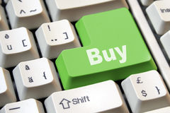 Buy is the key. The green key to buy on-line royalty free stock photos