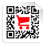 Buy label sign QR code. QR code label sign with red shopping cart icon. Vector file available Stock Image