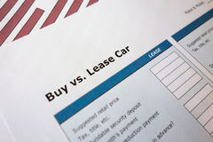 Buy or lease comparison. Car buying or leasing comparison Royalty Free Stock Image