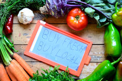 Buy local concept. Fresh organic food with buy local concept Stock Images