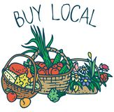 Buy Local. Farmers Market Purchases stock illustration