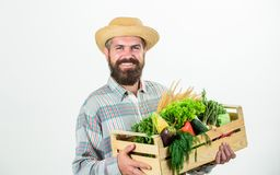 Buy local foods. Farmer rustic bearded man hold wooden box with homegrown vegetables white background. Farmer guy carry. Harvest. Locally grown foods. Farmer royalty free stock photo