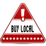 BUY LOCAL on red triangle road sign. Illustration Royalty Free Stock Image