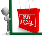Buy Local Shopping Bag Shows Buy Nearby Trade Stock Images